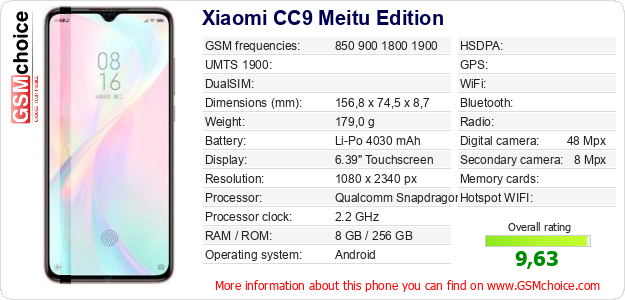 Xiaomi CC9 Meitu Edition technical specifications