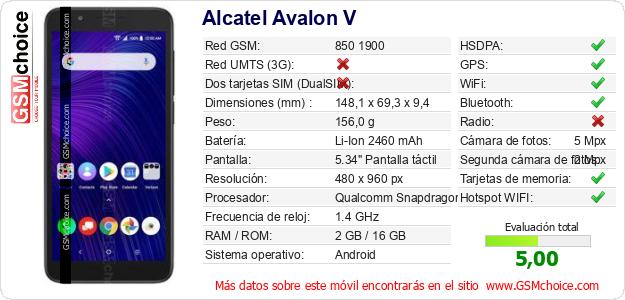 Alcatel Avalon V Datos técnicos del móvil