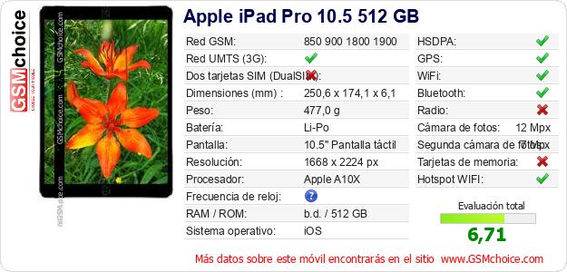 Apple iPad Pro 10.5 512 GB Datos técnicos del móvil