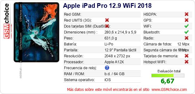 Apple iPad Pro 12.9 WiFi 2018 Datos técnicos del móvil