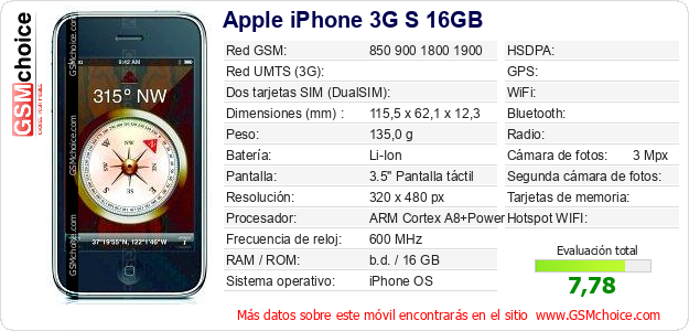 Apple iPhone 3G S 16GB Datos técnicos del móvil