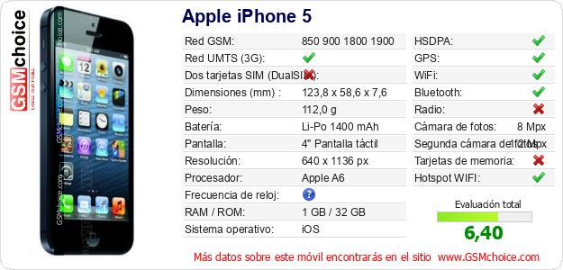 Apple iPhone 5 Datos t?cnicos del m?vil