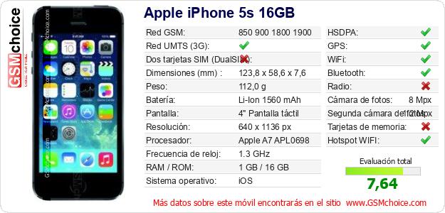 Apple iPhone 5s 16GB Datos técnicos del móvil