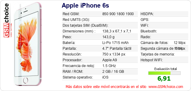 Apple iPhone 6s Datos t?cnicos del m?vil
