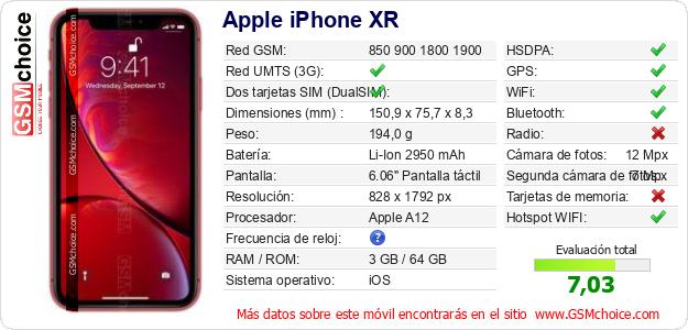 Apple iPhone XR Datos técnicos del móvil