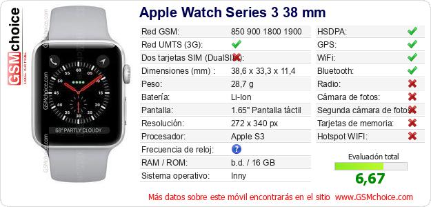 Apple Watch Series 3 38 mm Datos técnicos del móvil