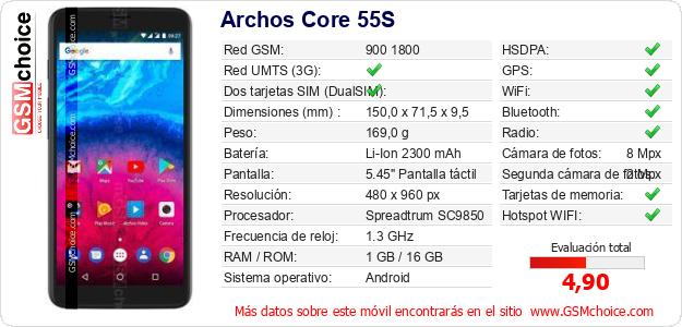 Archos Core 55S Datos técnicos del móvil