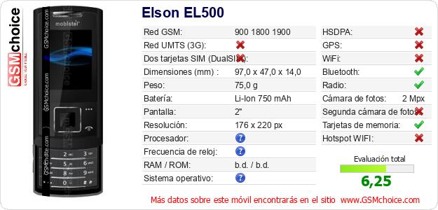 Elson EL500 Datos técnicos del móvil