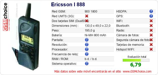 Ericsson I 888 Datos técnicos del móvil