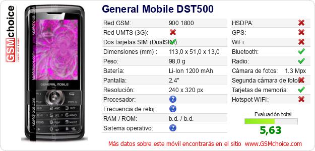 General Mobile DST500 Datos técnicos del móvil