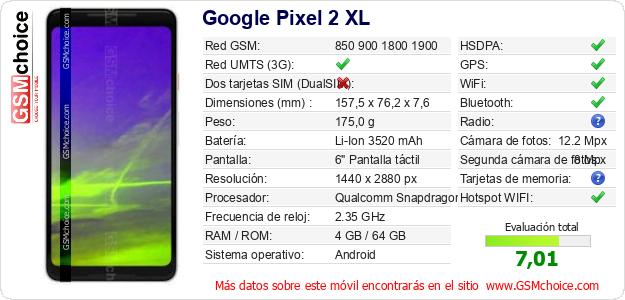 Google Pixel 2 XL Datos técnicos del móvil