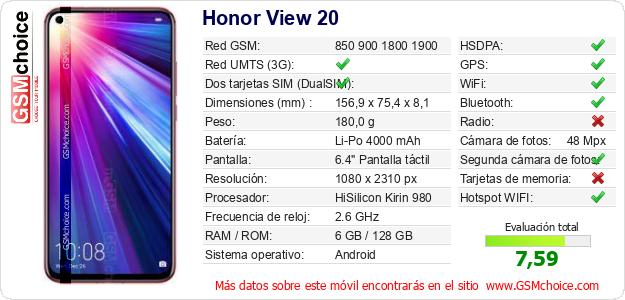 Honor View 20 Datos técnicos del móvil