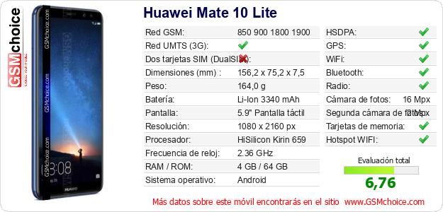 Huawei Mate 10 Lite Datos técnicos del móvil