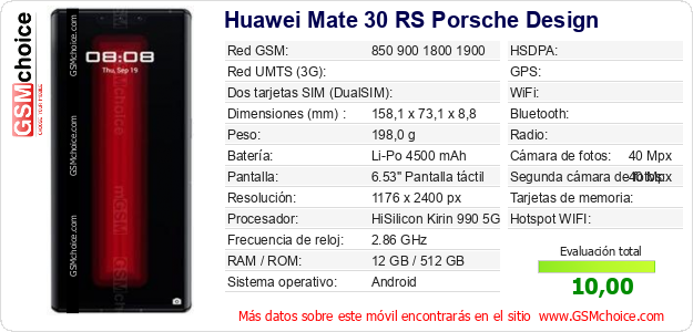 Huawei Mate 30 RS Porsche Design Datos técnicos del móvil