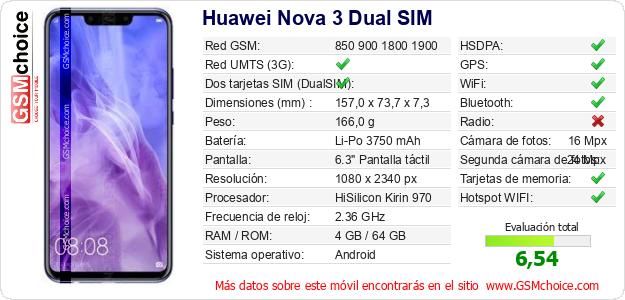 Huawei Nova 3 Dual SIM Datos técnicos del móvil