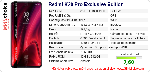 Redmi K20 Pro Exclusive Edition Datos técnicos del móvil
