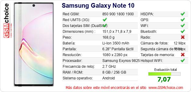 Samsung Galaxy Note 10 Datos técnicos del móvil