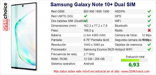 Samsung Galaxy Note 10+ Dual SIM Datos técnicos del móvil