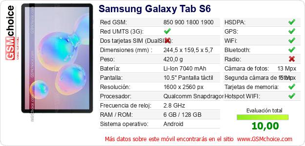 Samsung Galaxy Tab S6 Datos técnicos del móvil