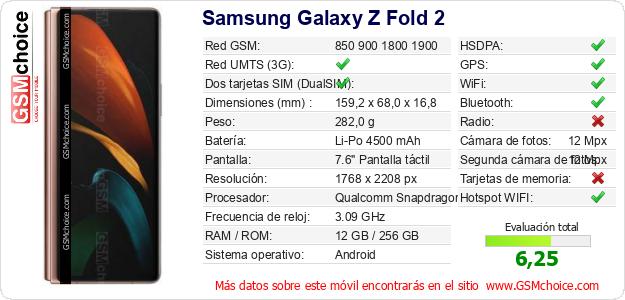 Samsung Galaxy Z Fold 2 Datos técnicos del móvil