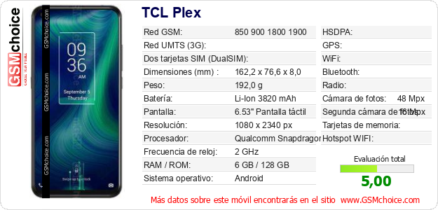 TCL Plex Datos técnicos del móvil