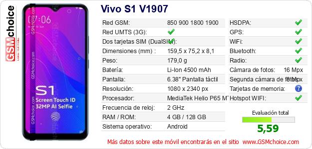 Vivo S1 V1907 Datos técnicos del móvil