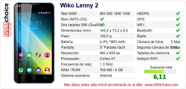 Wiko Lenny 2 Datos técnicos del móvil