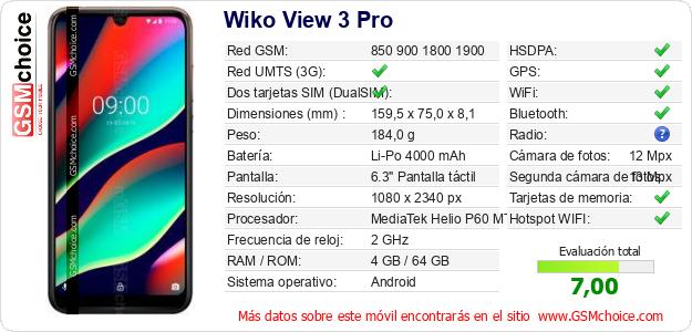 Wiko View 3 Pro Datos técnicos del móvil