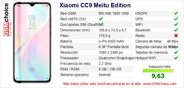 Xiaomi CC9 Meitu Edition Datos técnicos del móvil