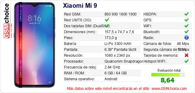 Xiaomi Mi 9 Datos técnicos del móvil