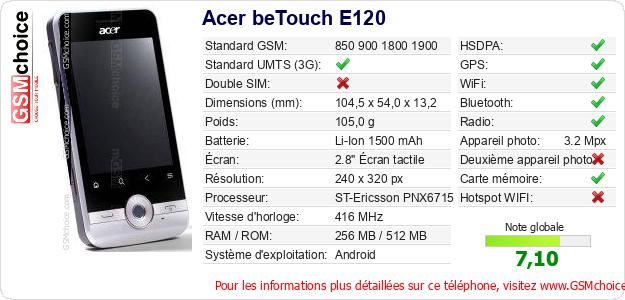 Acer beTouch E120 Fiche technique