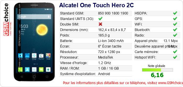 Alcatel One Touch Hero 2C Fiche technique