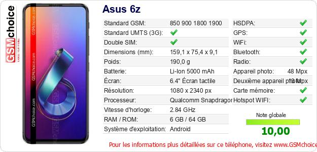 Asus 6z Fiche technique