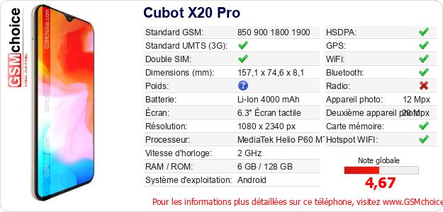 Cubot X20 Pro Fiche technique