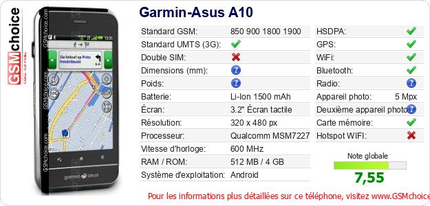 Garmin-Asus A10 Fiche technique