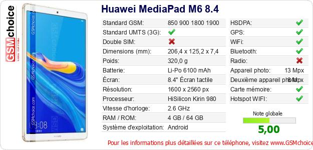 Huawei MediaPad M6 8.4 Fiche technique