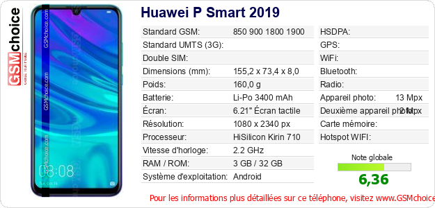 Huawei P Smart 2019 Fiche technique