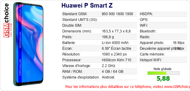 Huawei P Smart Z Fiche technique