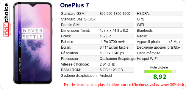 OnePlus 7 Fiche technique