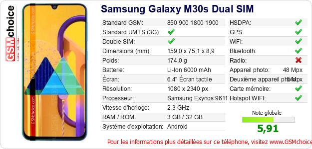Samsung Galaxy M30s Dual SIM Fiche technique