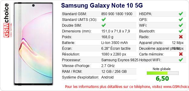 Samsung Galaxy Note 10 5G Fiche technique