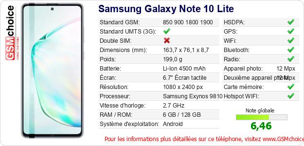 Samsung Galaxy Note 10 Lite Fiche technique