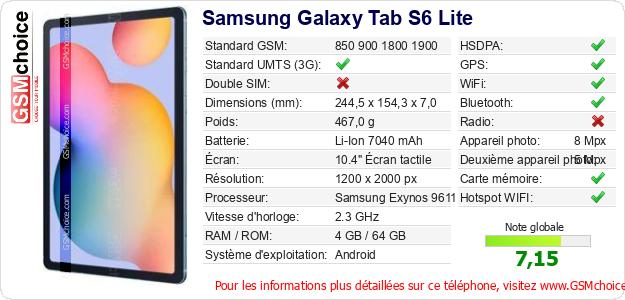 Samsung Galaxy Tab S6 Lite Fiche technique