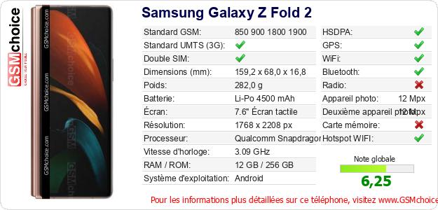 Samsung Galaxy Z Fold 2 Fiche technique