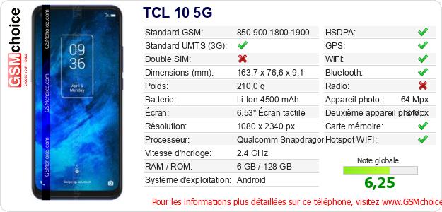 TCL 10 5G Fiche technique