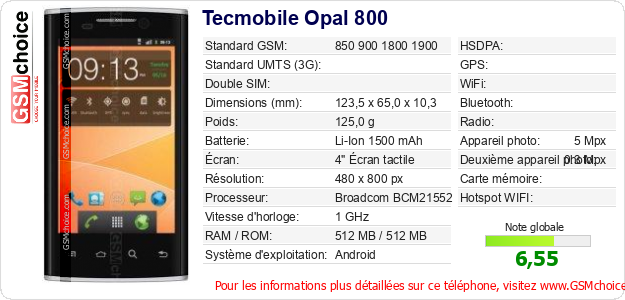 Tecmobile Opal 800 Fiche technique