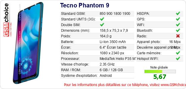 Tecno Phantom 9 Fiche technique