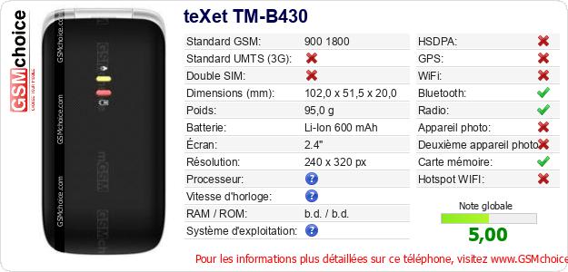 teXet TM-B430 Fiche technique