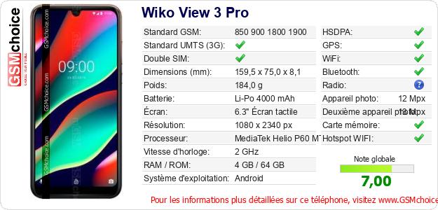 Wiko View 3 Pro Fiche technique