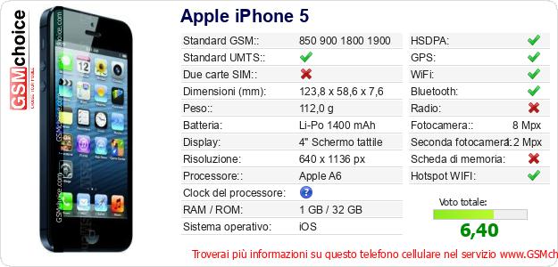 Apple iPhone 5 Dati tecnici di telefono cellulare